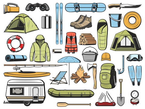 Travel and tourism equipment, camping icons