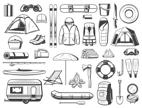 Travel and tourism equipment isolated vector icons