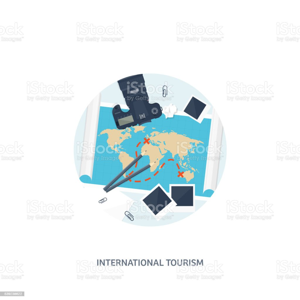Travel and tourism. Flat style. World, earth map. Globe. Trip royalty-free travel and tourism flat style world earth map globe trip stock vector art & more images of adventure