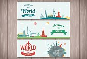 Travel and Tourism Header, Banner with famous Landmarks. Vector