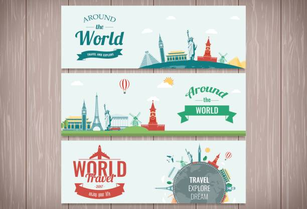 Travel and Tourism Header, Banner with famous Landmarks. Vector vector art illustration