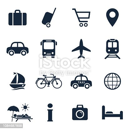 Travel and tourism icon set. Vector isolated vacation travel symbol collection.