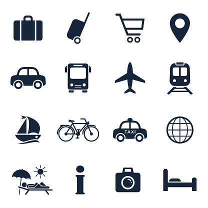 Travel and tourism icon set. Vector isolated vacation travel symbol collection