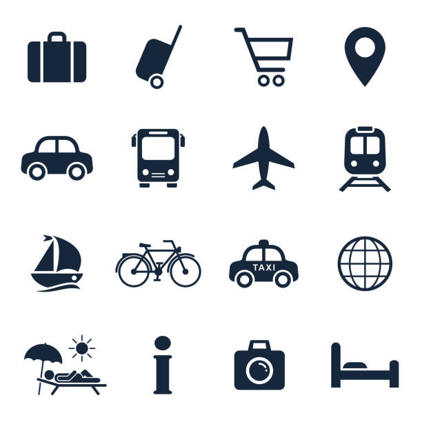 Travel and tourism icon set. Vector isolated vacation travel symbol collection Travel and tourism icon set. Vector isolated vacation travel symbol collection. airplane symbols stock illustrations