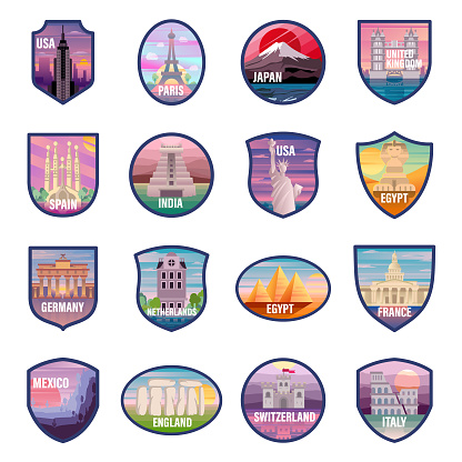 Travel and Tourism Icons. Set contains symbol as Famous Place, Historical Buildings, Towers, Mountain, Illustration
