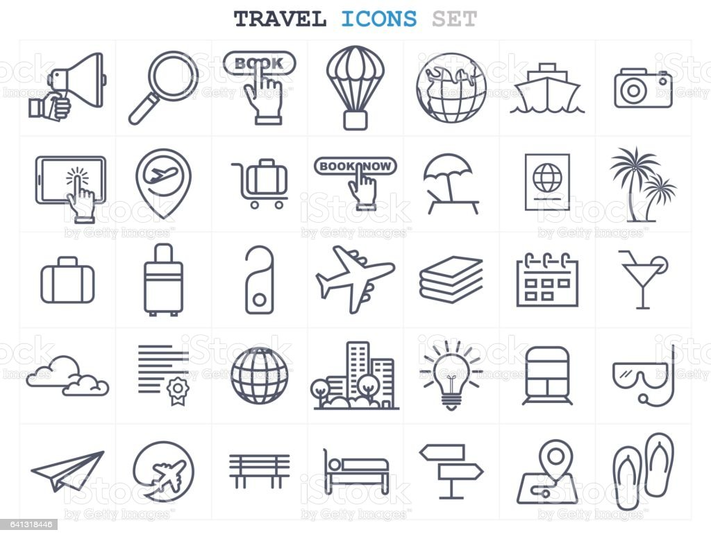 Travel and Tourism icons set flat design