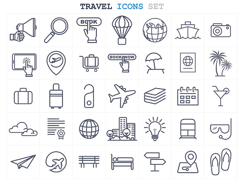 Travel and Tourism icons set flat design