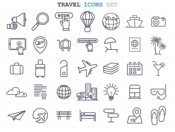 Travel and Tourism icons set flat design vector art illustration