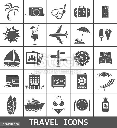 25 Travel and tourism icons. Vector illustration.