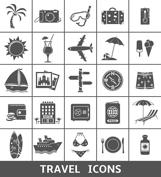 Travel and tourism icons set 25 Travel and tourism icons. Vector illustration. passing giving stock illustrations