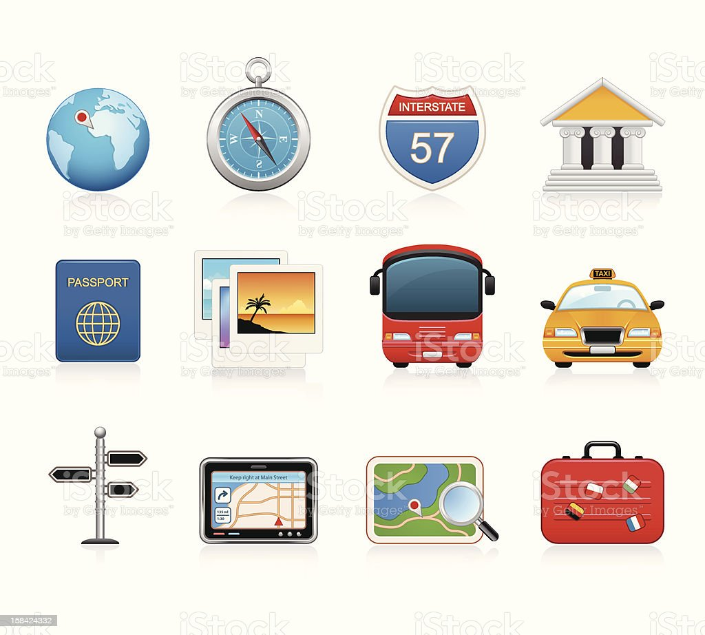 Travel and Tourism Icons royalty-free stock vector art
