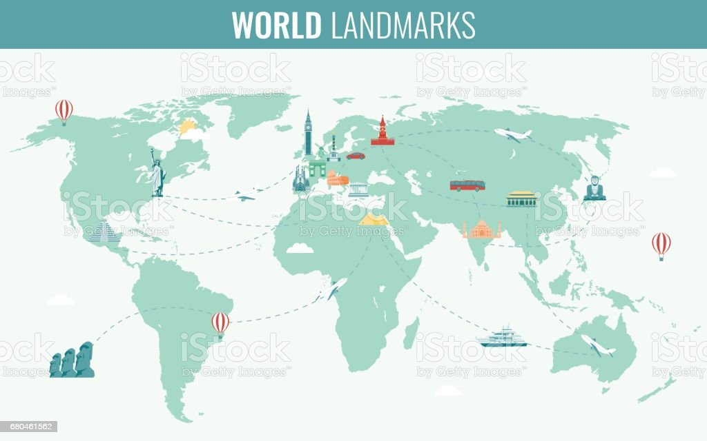 Travel and tourism infographic set with world map and landmarks travel and tourism infographic set with world map and landmarks vector royalty free gumiabroncs Choice Image
