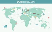 Travel and Tourism. Infographic set with world map and landmarks. Vector illustration
