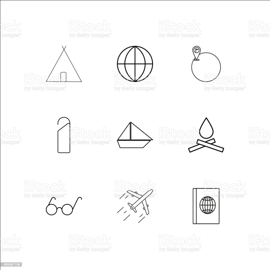 Travel And Tourism linear outline icons set royalty-free travel and tourism linear outline icons set stock illustration - download image now