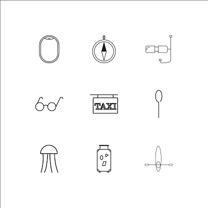 Travel And Tourism Linear Outline Icons Set Stock Illustration - Download Image Now