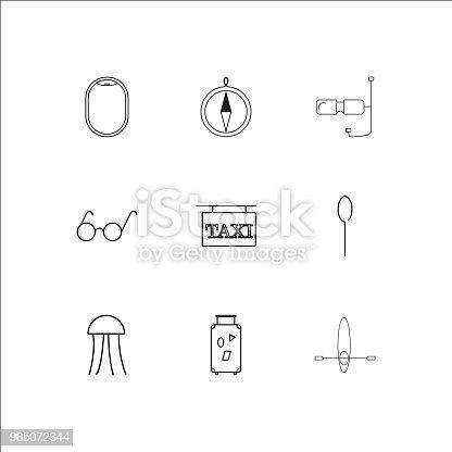 Travel And Tourism Linear Outline Icons Set - Stockowe grafiki wektorowe i więcej obrazów Azerbejdżan 965072344