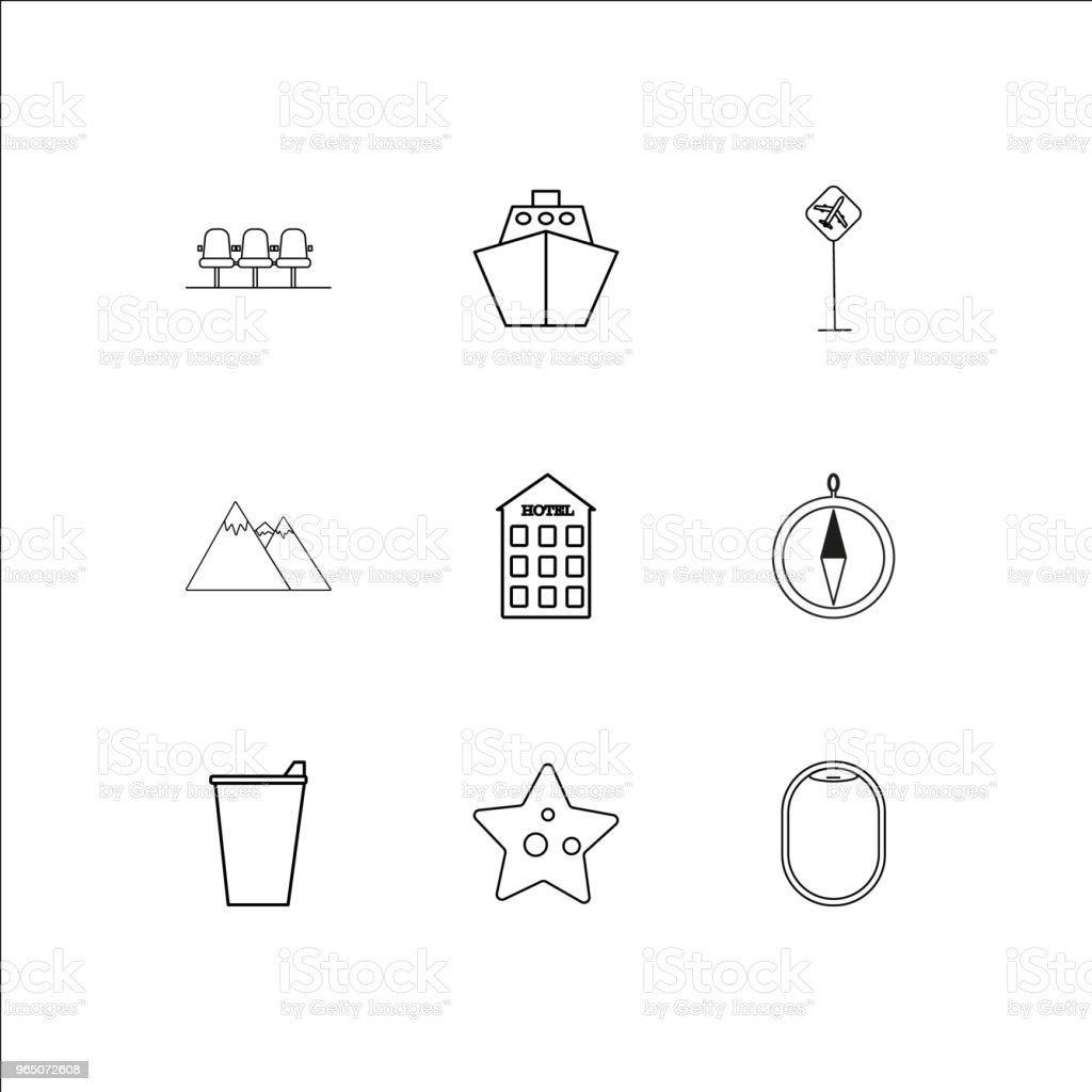Travel And Tourism linear outline icons set royalty-free travel and tourism linear outline icons set stock vector art & more images of airport