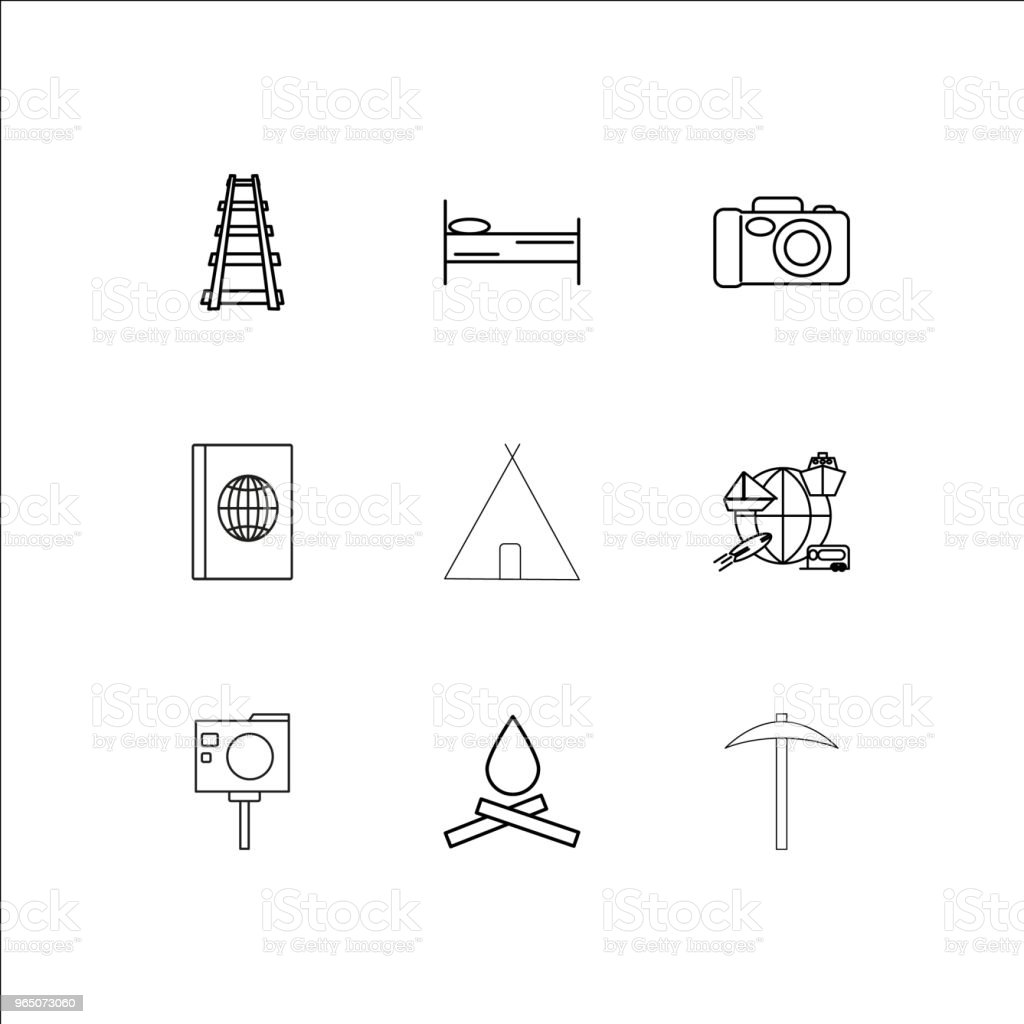 Travel And Tourism linear outline icons set royalty-free travel and tourism linear outline icons set stock vector art & more images of adventure