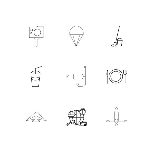 ilustrações, clipart, desenhos animados e ícones de viagens e turismo linear delinear o conjunto de ícones - ícones de design planar