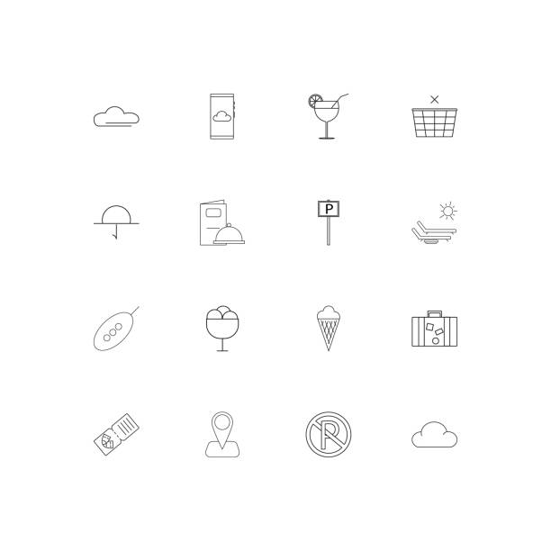 Travel And Tourism linear thin icons set. Outlined simple vector icons vector art illustration
