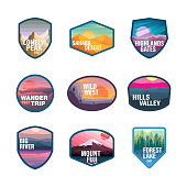 Climbing, Recreational Pursuit, Camping labels concepts, Mountain Icon Set
