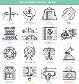 Travel and tourism marketing icons set. These line style vector illustrations represent travel and tourism industry.