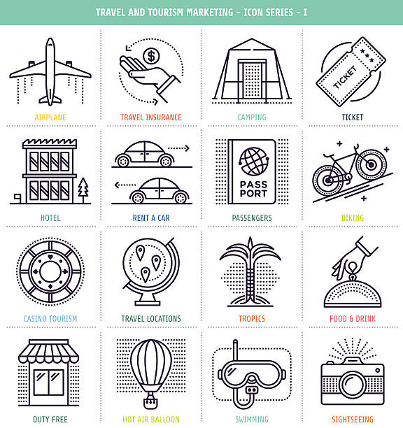 Travel And Tourism Marketing Travel and tourism marketing icons set. These line style vector illustrations represent travel and tourism industry. airport drawings stock illustrations