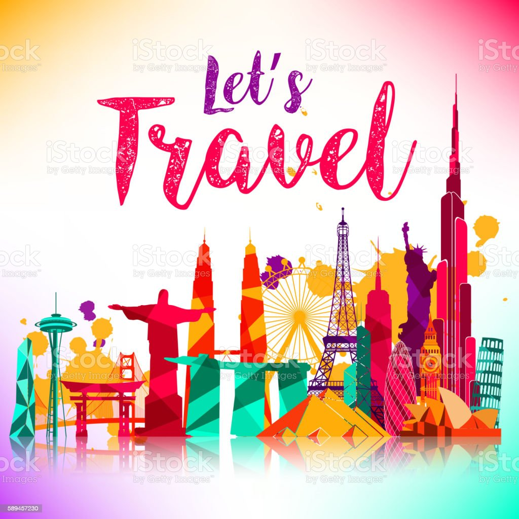 Travel and tourism of silhouettes icons background vector art illustration