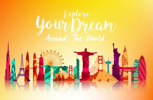 Travel and tourism on orange background