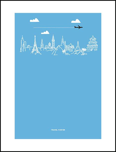 ilustrações, clipart, desenhos animados e ícones de cartaz de viagens e turismo. puxada mãos mundo de atrações - mapa do oriente médio