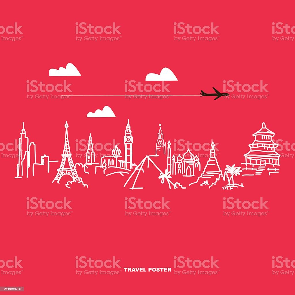 Travel and tourism poster . Drawn hands world attractions vector art illustration