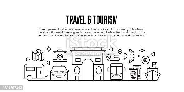 istock Travel and Tourism Related Modern Line Style Banner Design 1341897343