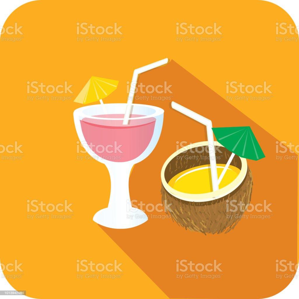 Reisen Und Tourismus Tropischen Alkohol Trinkt Flaches Design Unter