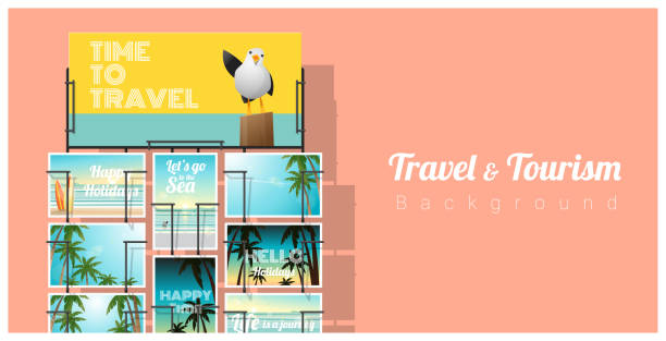illustrazioni stock, clip art, cartoni animati e icone di tendenza di travel and tourism , tropical sea postcards displayed on colorful background , vector , illustration - souvenir