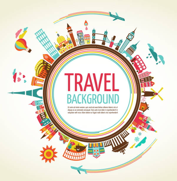 travel and tourism vector background - travel destinations stock illustrations