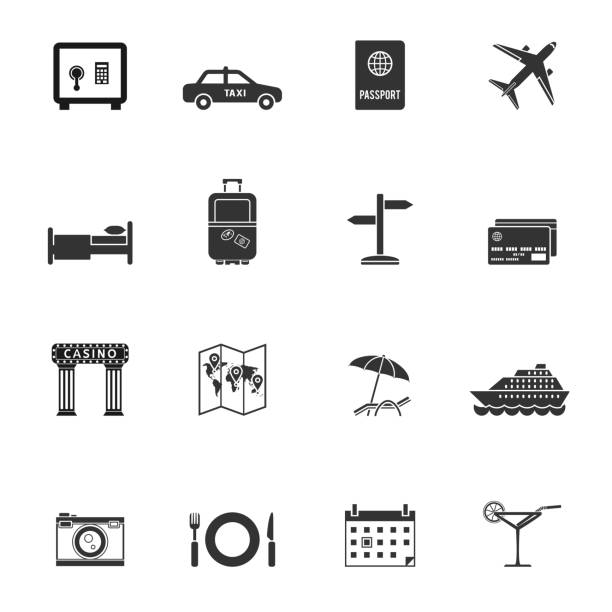 Travel and tourism vector icons Travel and tourism vector icons. Vacation and traveling signs in flat style. personal land vehicle stock illustrations