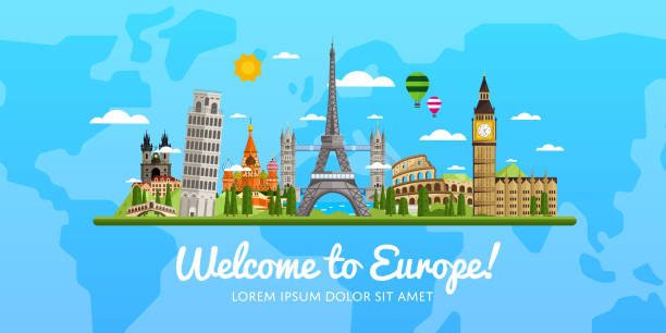 travel and tourism vector illustration. - europe travel stock illustrations, clip art, cartoons, & icons