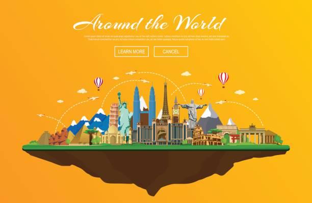 ilustrações, clipart, desenhos animados e ícones de ilustração em vetor de viagens e turismo - infográficos de site