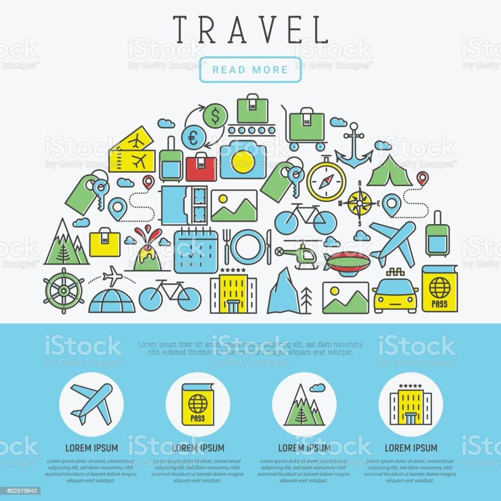 Concepto De Viajes Y Vacaciones Con Los Iconos De La Delgada Línea ...