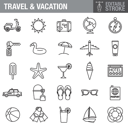 Travel and Vacation Editable Stroke Icon Set