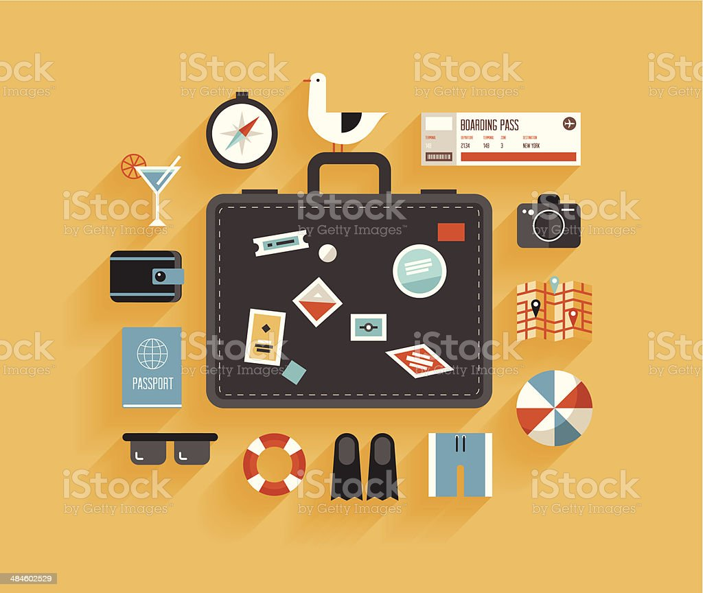Travel and vacation flat design concept vector art illustration