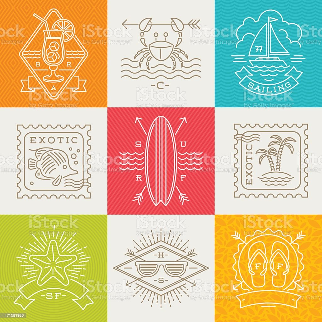 Travel and vacation icons arranged in a grid vector art illustration