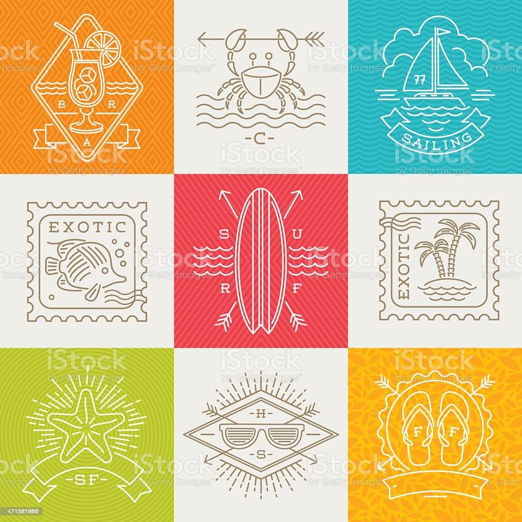 Vacaciones de verano, vacaciones y viajes emblems, signos y etiquetas - ilustración de arte vectorial