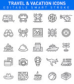 Vector Collection of travel and tourism icons with holidays, seafood and transport icons