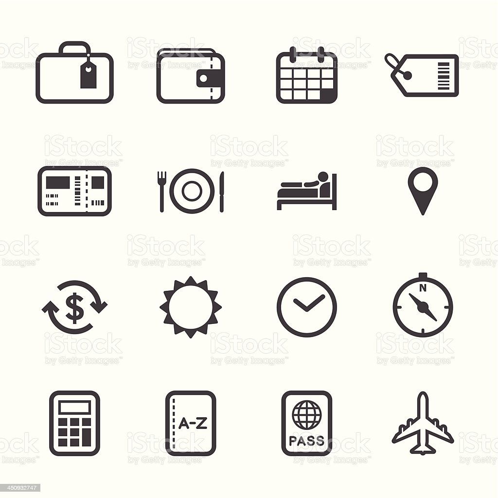 Travel and Vacation Icons royalty-free stock vector art