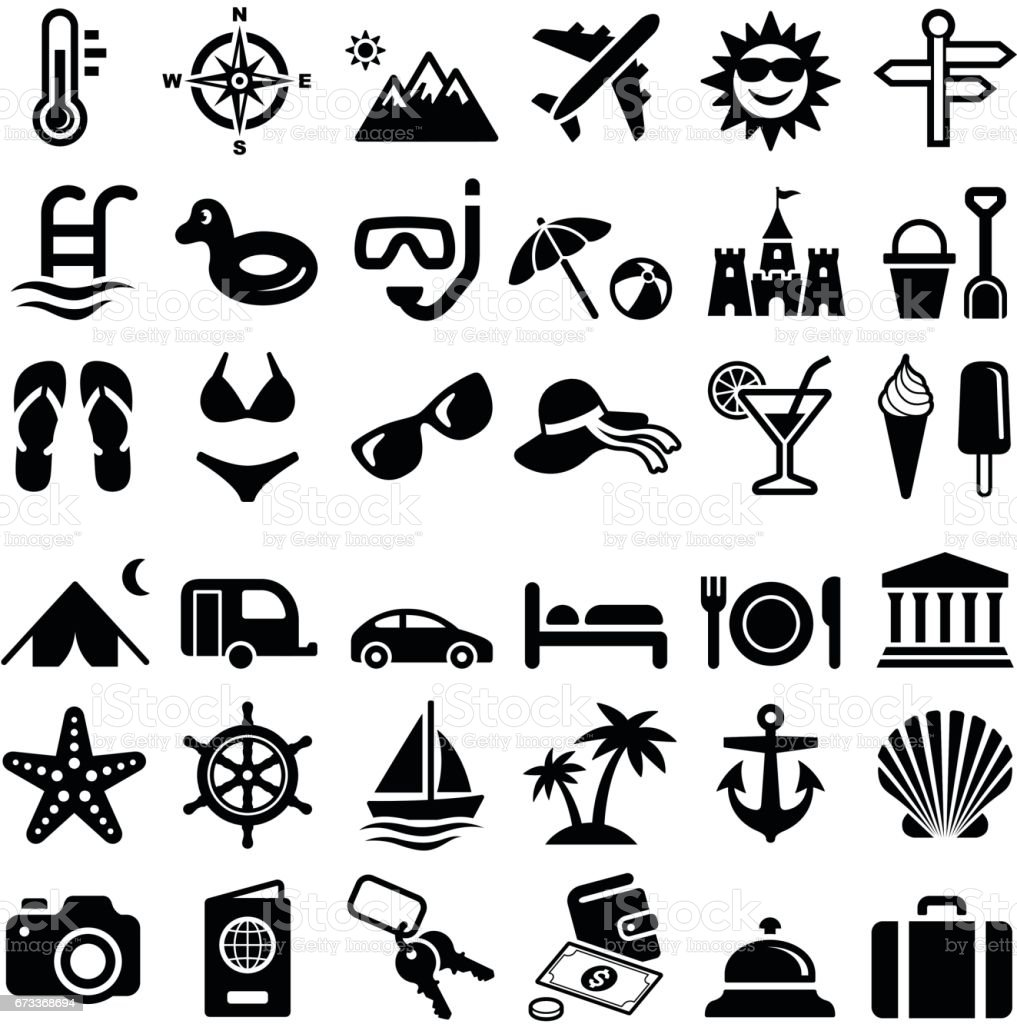 Travel and vacation icons vector art illustration