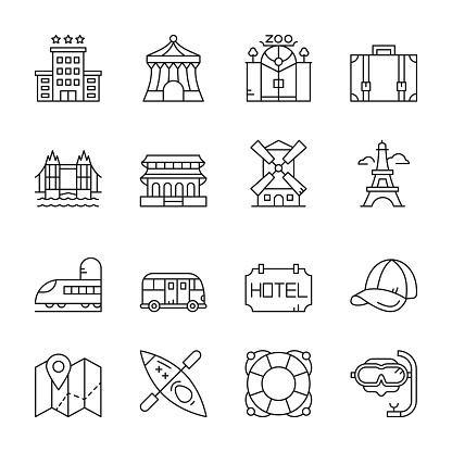 Travel And Vacation Line Icons