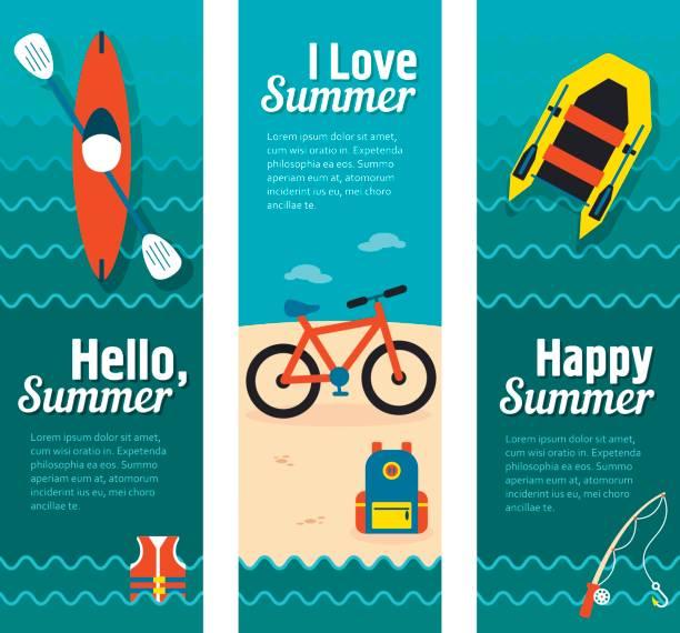 ilustraciones, imágenes clip art, dibujos animados e iconos de stock de vector banners de vacaciones y viajes - kayak