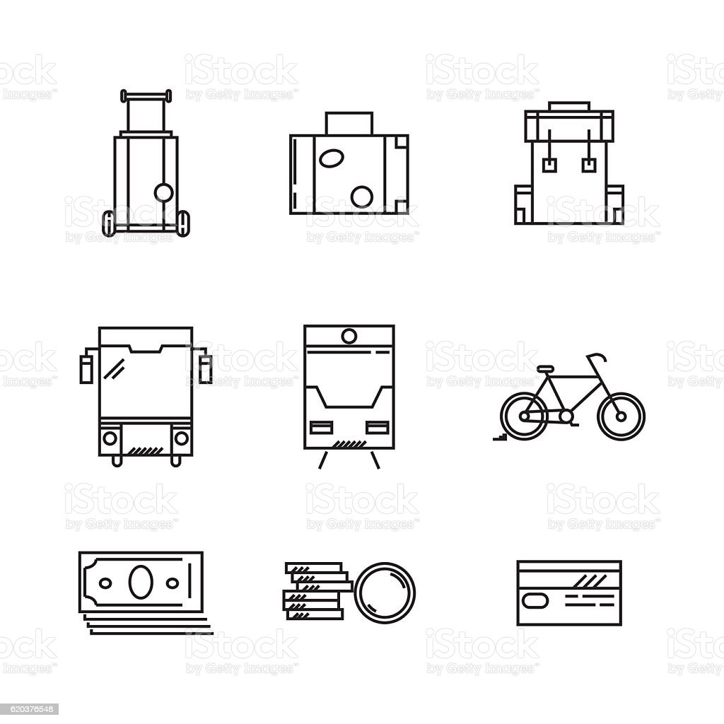 Travel and vacation vector icons travel and vacation vector icons - arte vetorial de stock e mais imagens de acampar royalty-free
