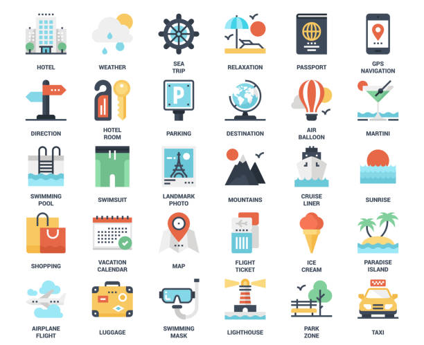 Travel and Vacation Vector set of travel and vacation flat web icons. Each icon neatly designed on pixel perfect 48X48 size grid. Fully editable and easy to use. hotel stock illustrations